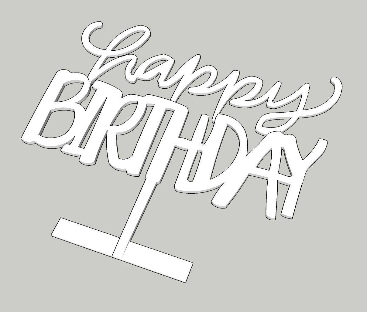 Happy Birthday Cake Topper Ver2 3D Print Model