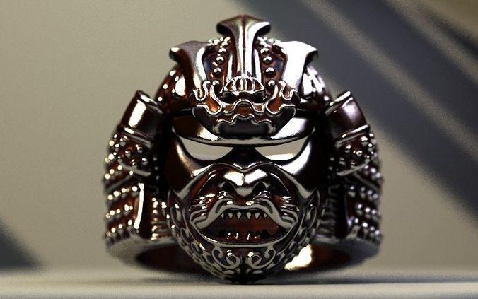 samurai helmet ring 3d model stl 1