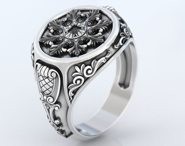 ring with old-fashioned patterns 374 3d model stl 3dm 1