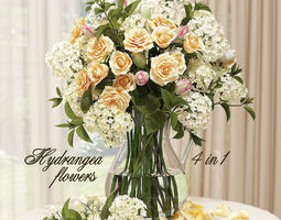 3D model Hydrangeas and roses in a vase