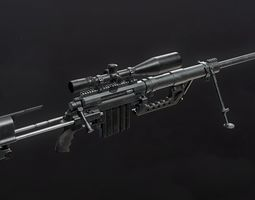 3D model rigged CheyTac M200 Intervention Sniper Rifle