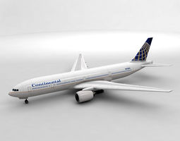 Boeing 777 Airliner - Continental Airlines 3D model