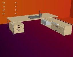 office table set obj fbx mb ma texture material 3D asset 1