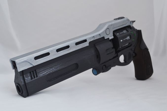 first curse hand cannon prop with moving cylinder and bullet 3d model stl 1