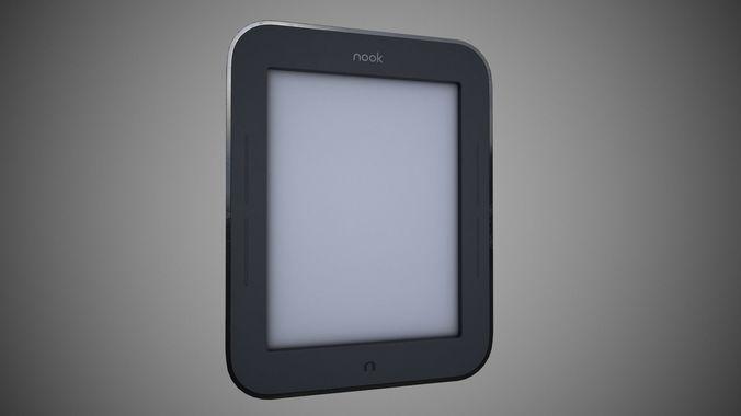 nook simple touch e-book 3d model low-poly max obj mtl 3ds fbx c4d ma mb 1