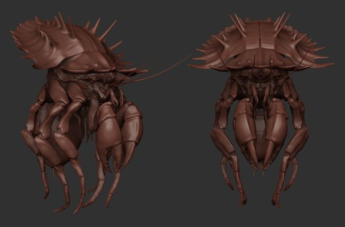 crab monster highpoly 3d model ztl 1