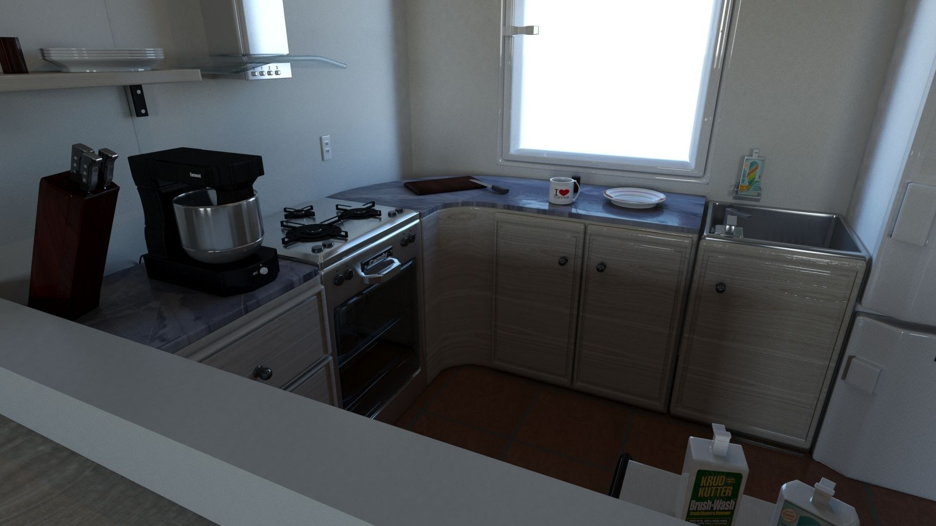Living Room With Kitchen 3d Model Max Obj