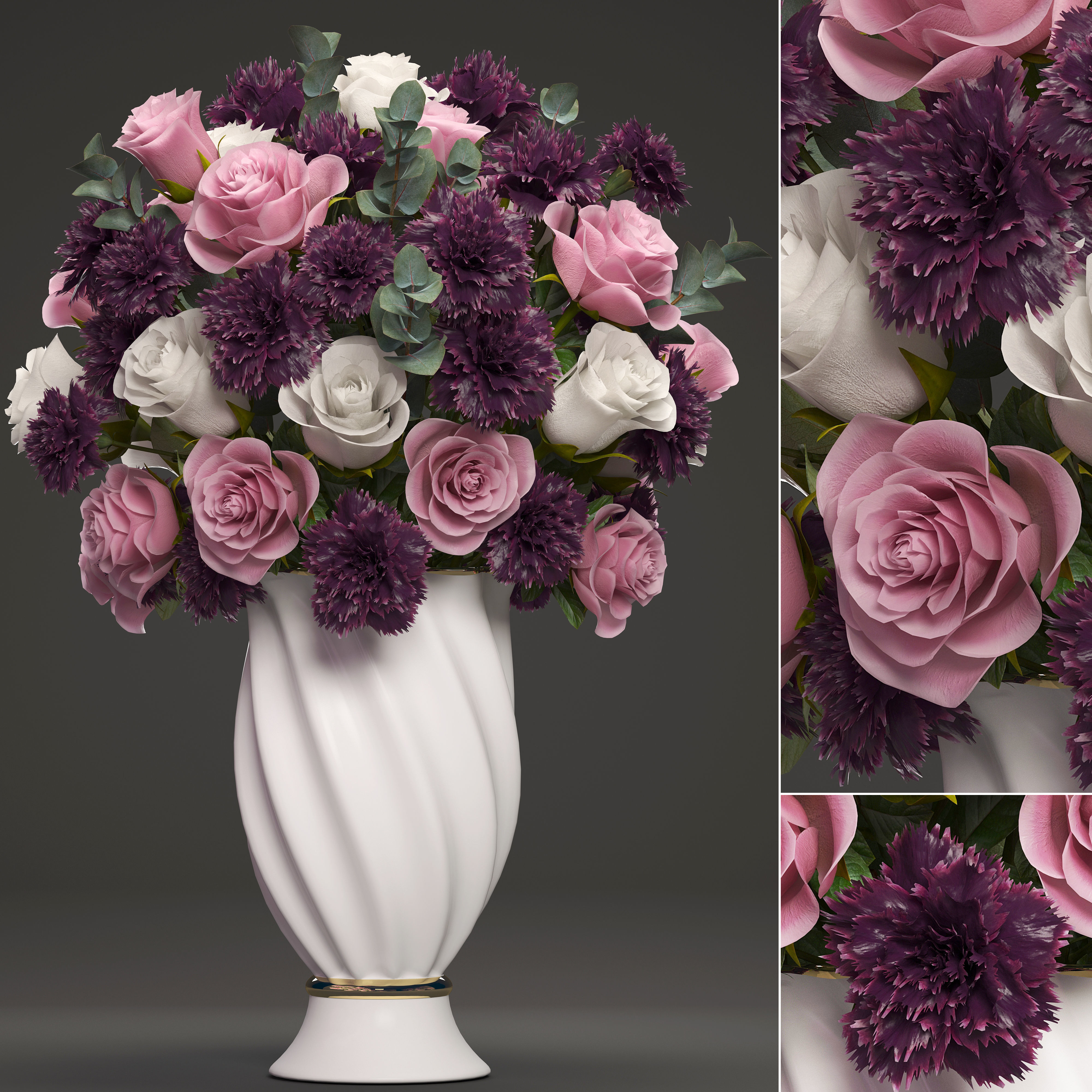 Bouquet of flowers in a vase 3D model & Bouquet of flowers in a vase 3D | CGTrader