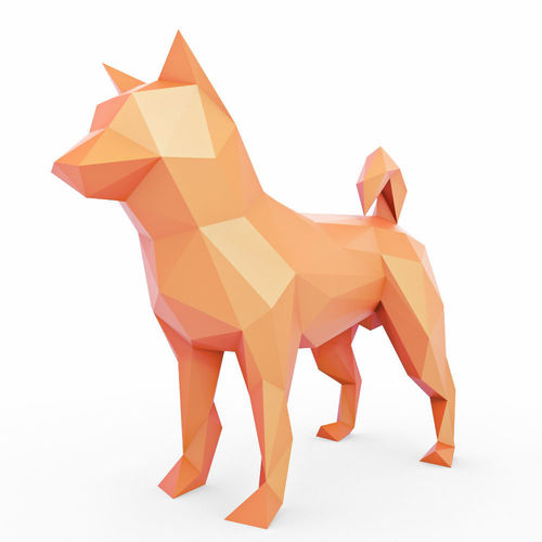 shiba inu low poly 3d model low-poly max obj mtl 3ds fbx stl 1