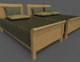 Double and single bed 3D