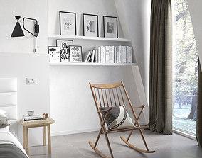 3D model Nordik Bedroom ready to render cinema 4D and