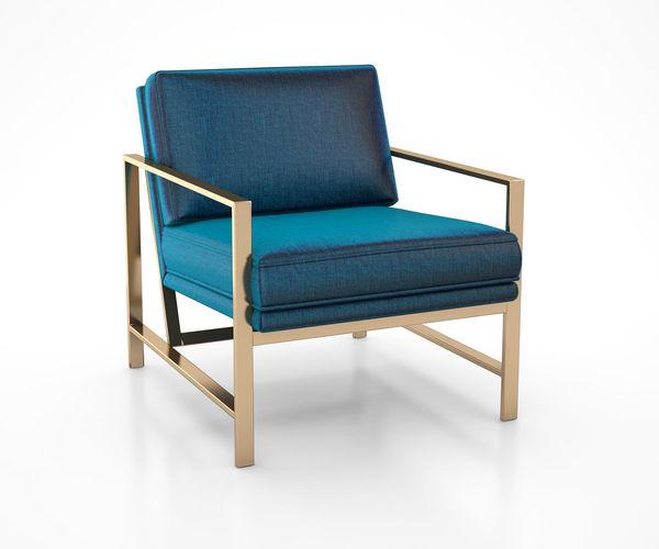metal frame upholstered chair celestial blue by west elm 3d model max obj mtl tga 1