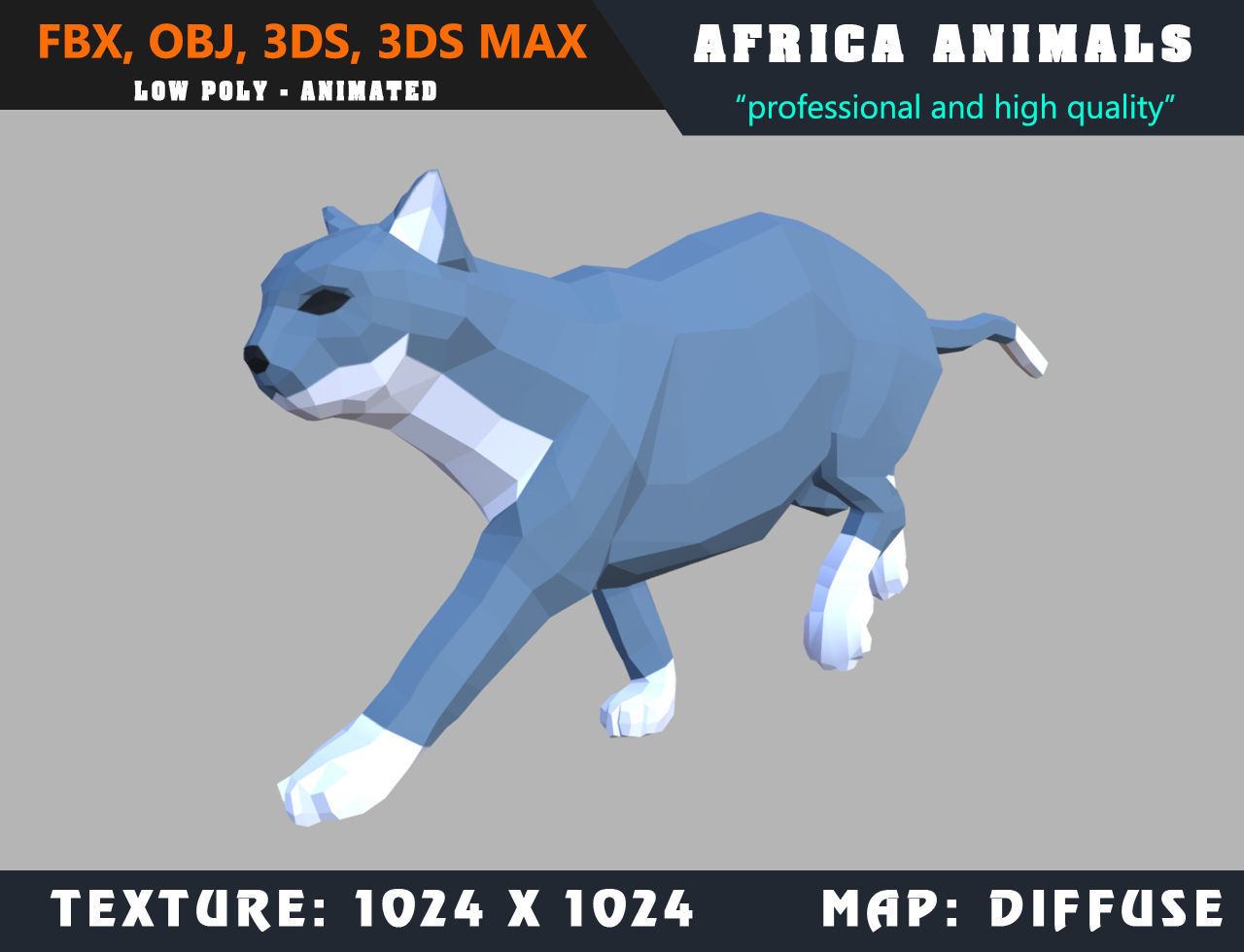 Low Poly Cat Cartoon 3D Model Animated - Game Ready