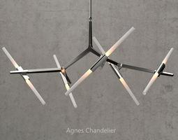 Agnes Chandelier 10 lights silver 3D model