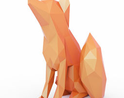 3D asset The Fox Sits Low Poly