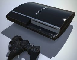Black gaming console with LOD 3D asset