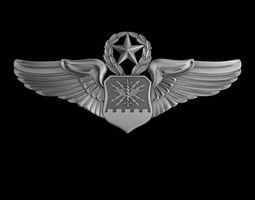 USAF Master Combat Systems Officer Wings Badge 3D model