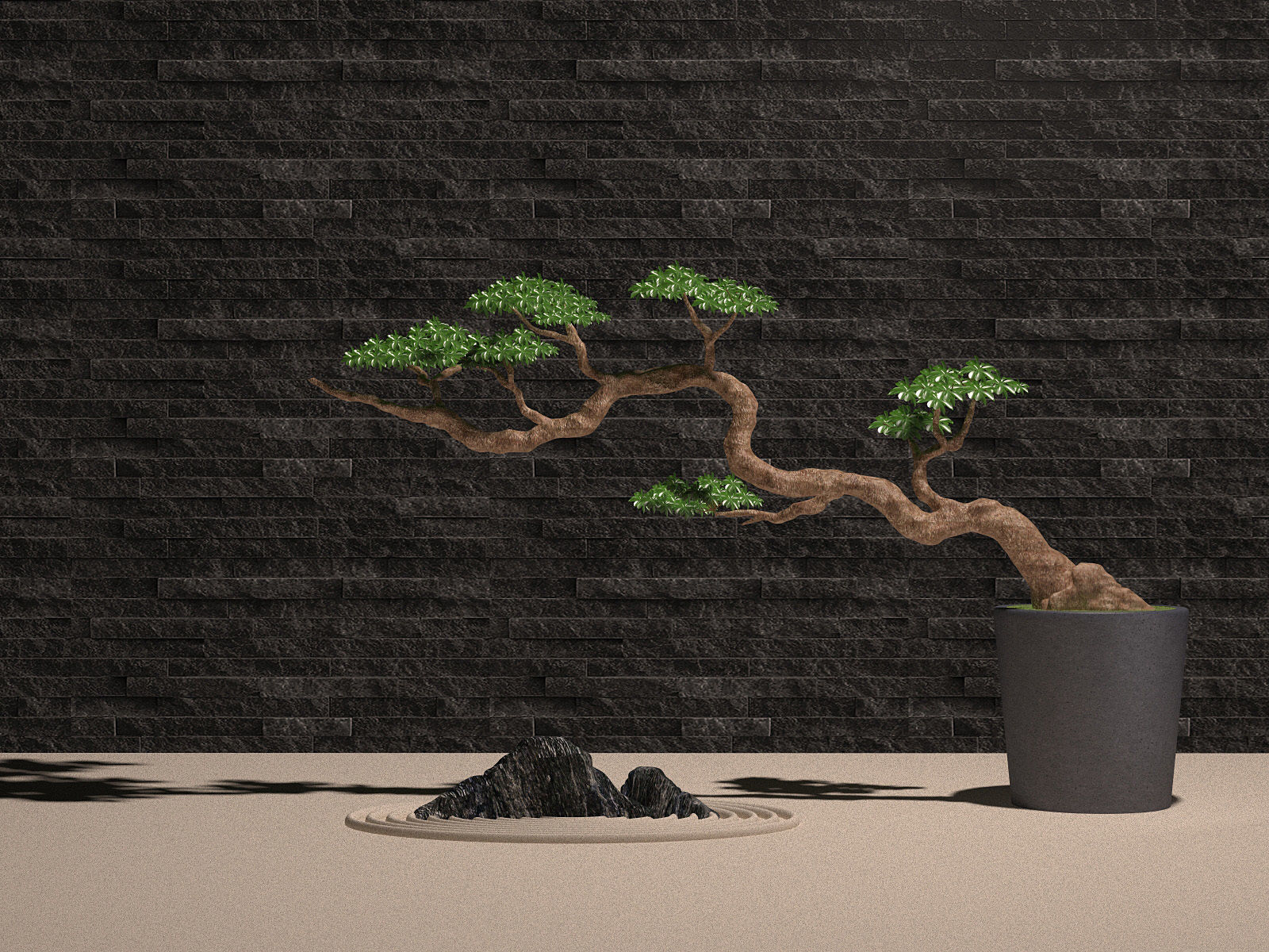 Plant Potted Bonsai Tree Stone Landscape Stone 3d Model 1