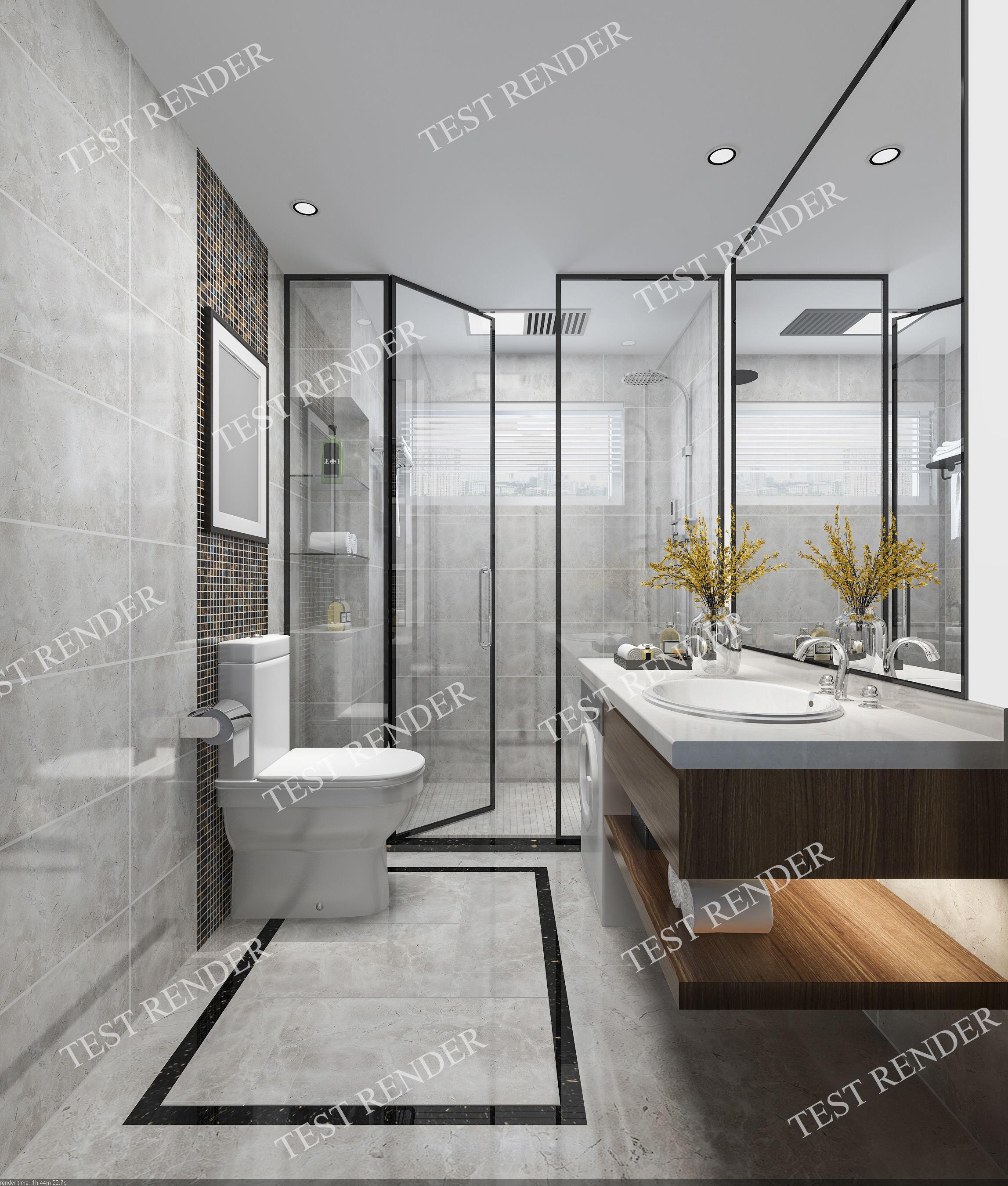 Modern luxury marble toilet and bathroom 3D model