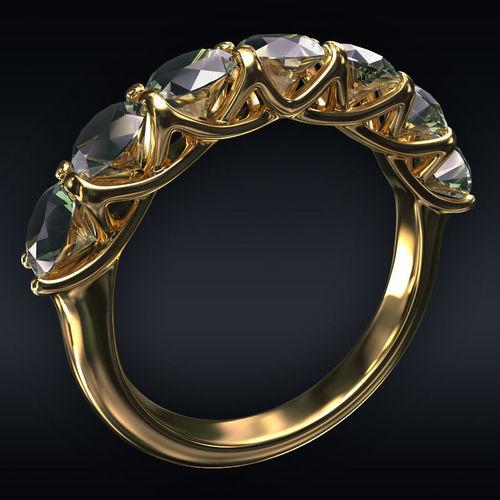 ring 7 round stones 3d model max obj mtl 3ds fbx stl 1