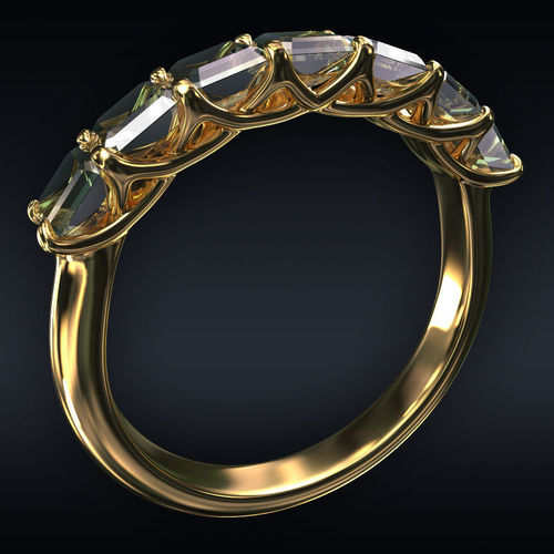 ring 7 square stones 3d model max obj 3ds fbx stl 1