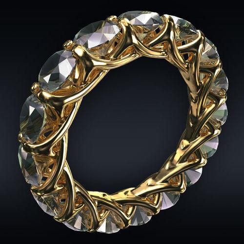 ring full 16 round stones 3d model max obj mtl 3ds fbx stl 1