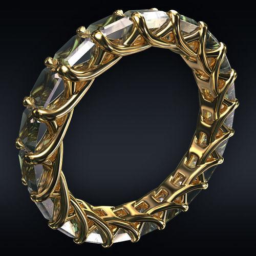 ring full 20 square stones 3d model max obj mtl 3ds fbx stl 1