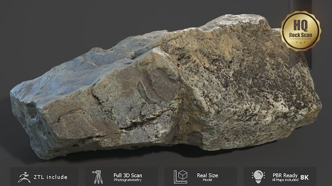 mountain rock scan a 3d model low-poly obj mtl fbx ztl 1