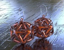 EARRING ICOSAHEDRON LINKED STAR 3D printable model