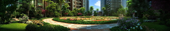 residential community courtyard 007 3d model max tga pts 1