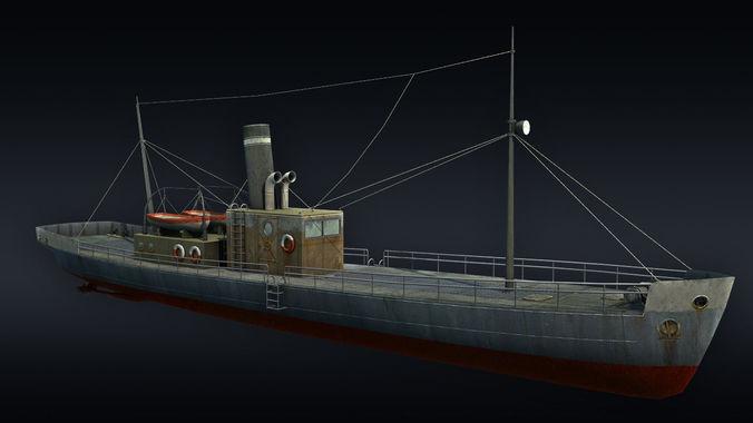 cargo ship 3d model low-poly max obj mtl 3ds fbx tga 1