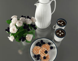 Tableware - Breakfast with blackberries and 3D model