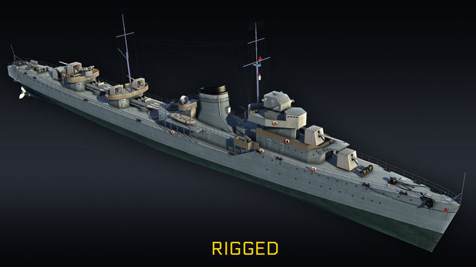destroyer rigged project 7 gremyashiy 3d model max obj mtl 3ds fbx 1