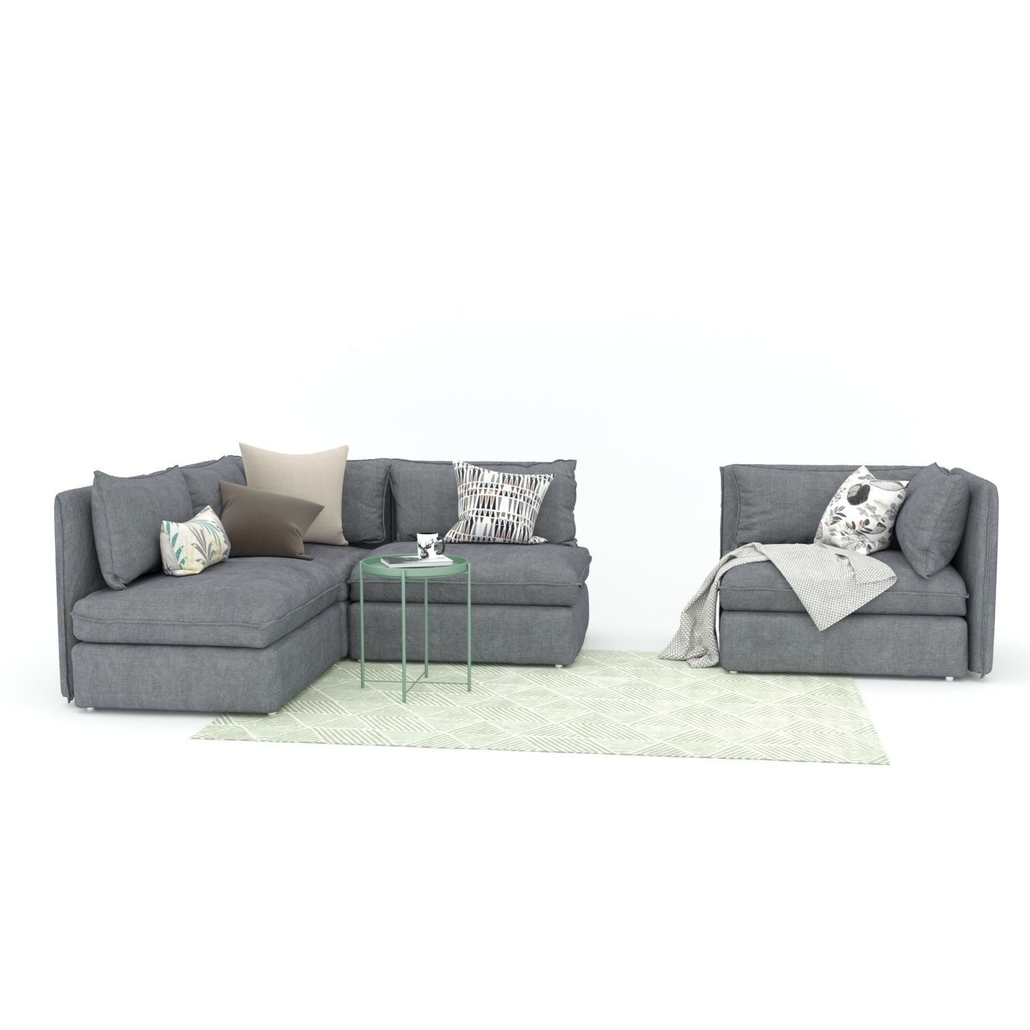 3d Ikea Vallentuna Sofa And Armchair Cgtrader