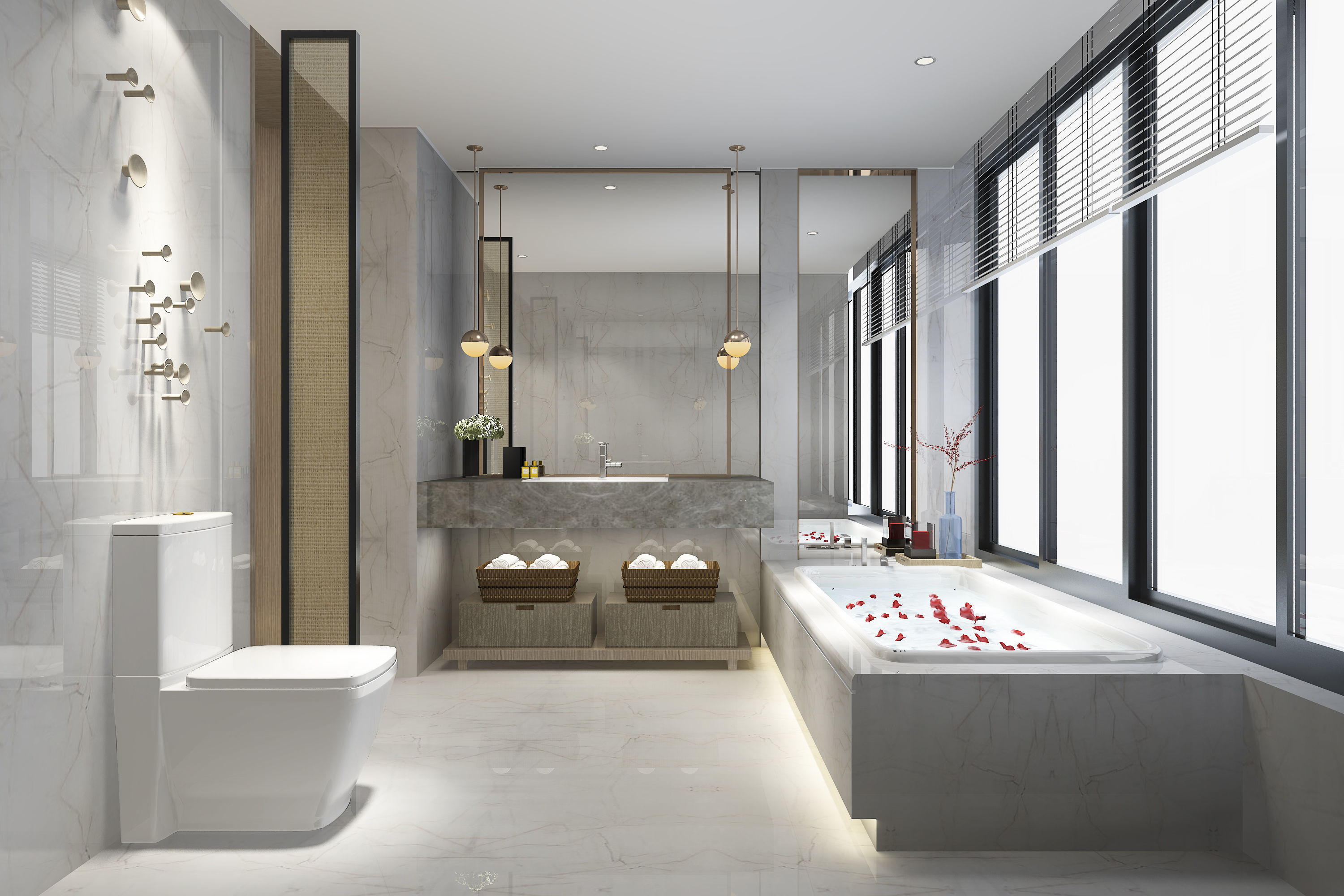 3D Modern luxury marble toilet and bathroom wall | CGTrader