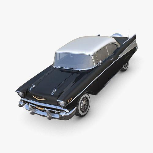 chevrolet bel air 1957 black 3d model max fbx c4d dae 1