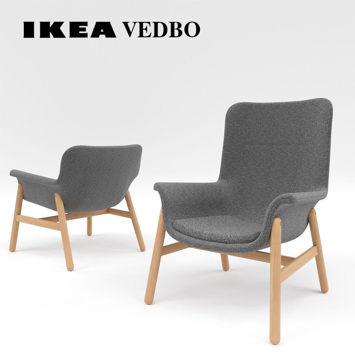3d ikea vedbo high back armchair 3d model max obj mtl fbx mat 1