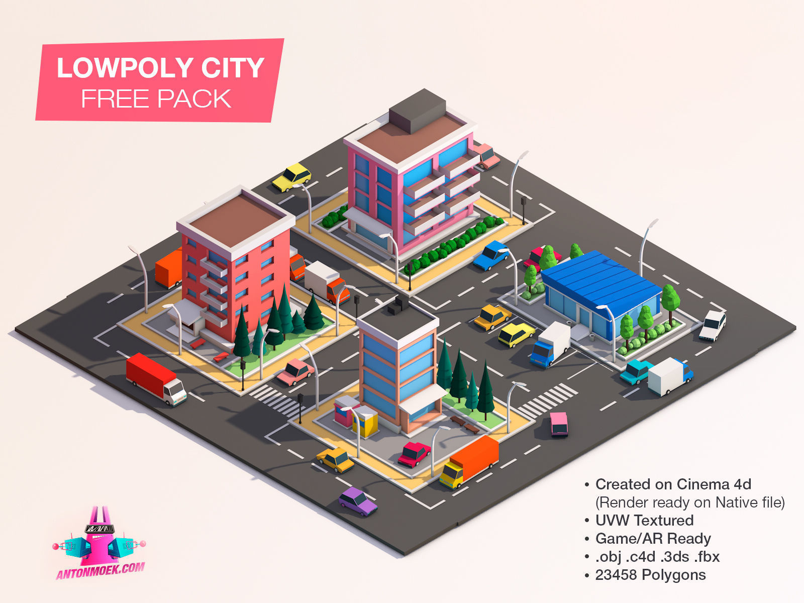 Cartoon Lowpoly City Free Game Pack 3D model   CGTrader