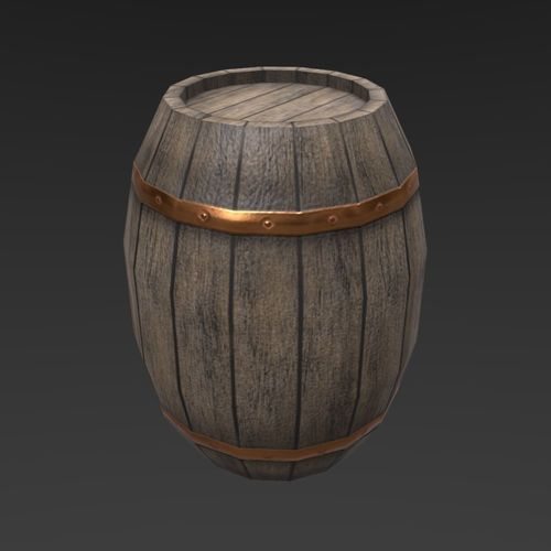 medieval wooden barrel 3d model low-poly obj mtl 3ds fbx blend unitypackage prefab tbscene tbmat 1