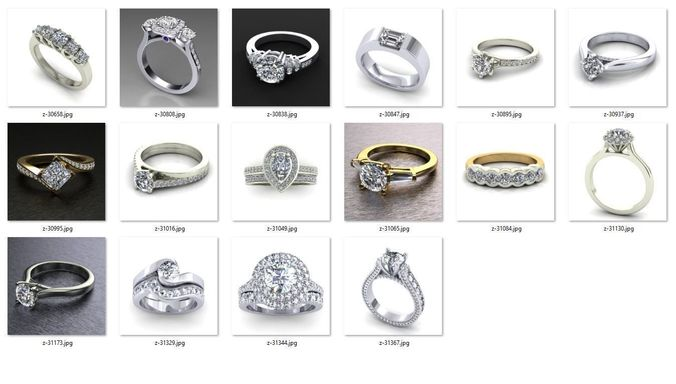 collection- bulk rings-0026-3dm with stones-16 files 3d model stl 3dm 1