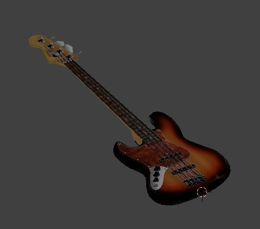 left-handed fender japan 62 reissue jazz bass in 3-tone sunburst 3d model obj mtl 3ds blend 1