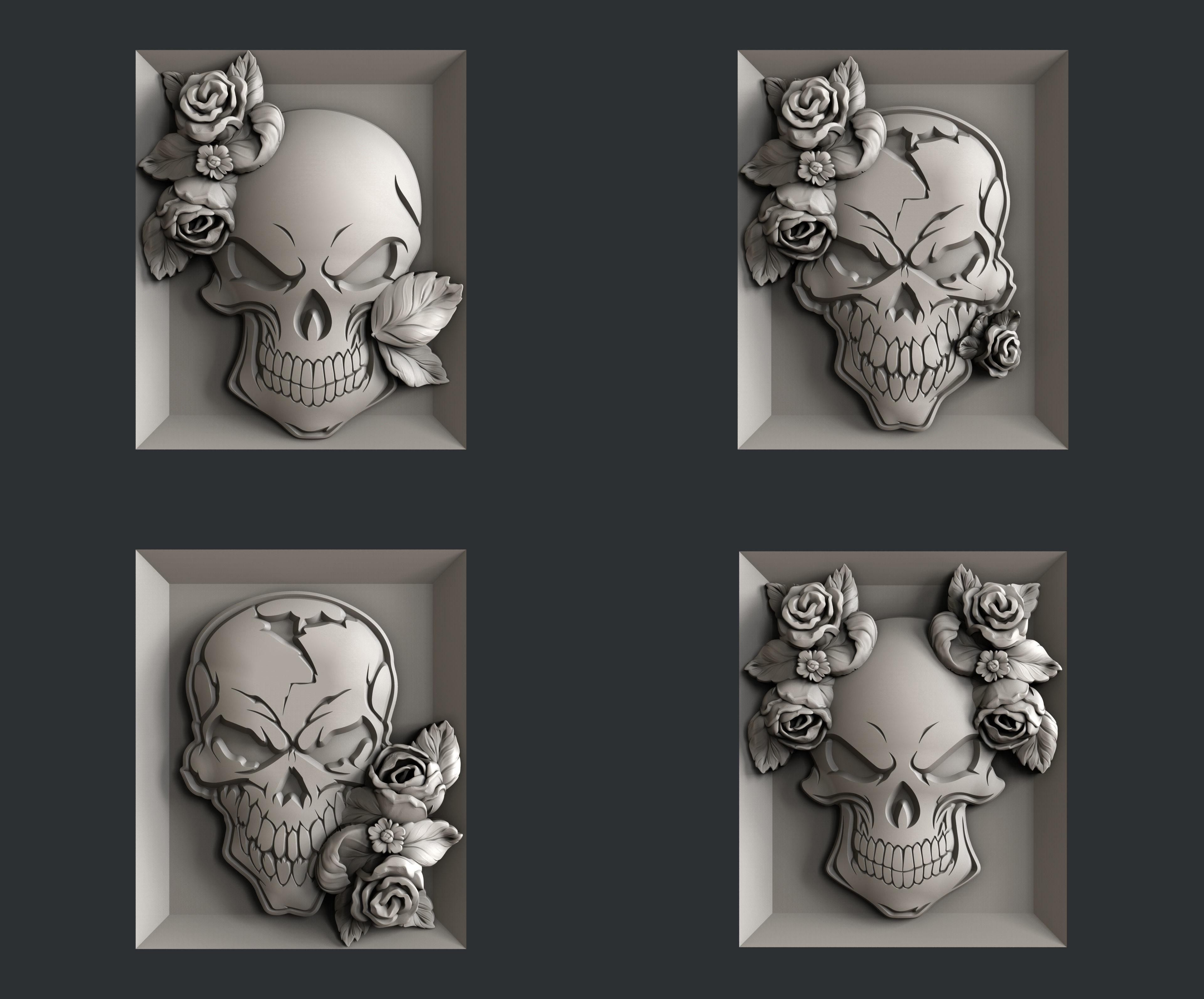 3d STL models for CNC skull rosses