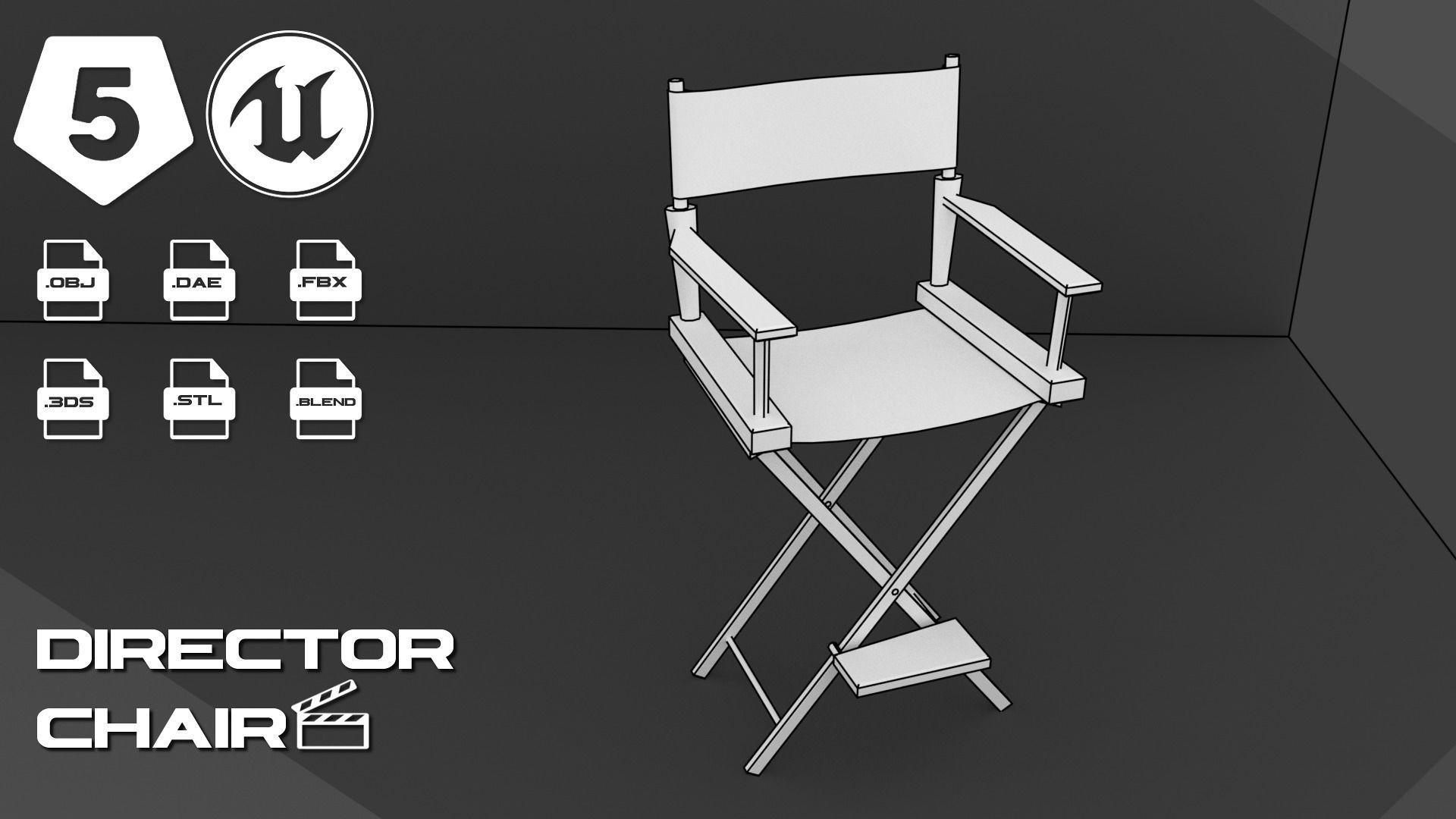 Director Chair 3d Model Obj 3ds Fbx Stl Blend Dae 4