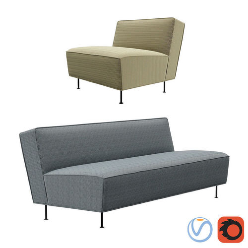 Gubi Fauteuil Modern Line Sofa and Lounge chair | 3D model