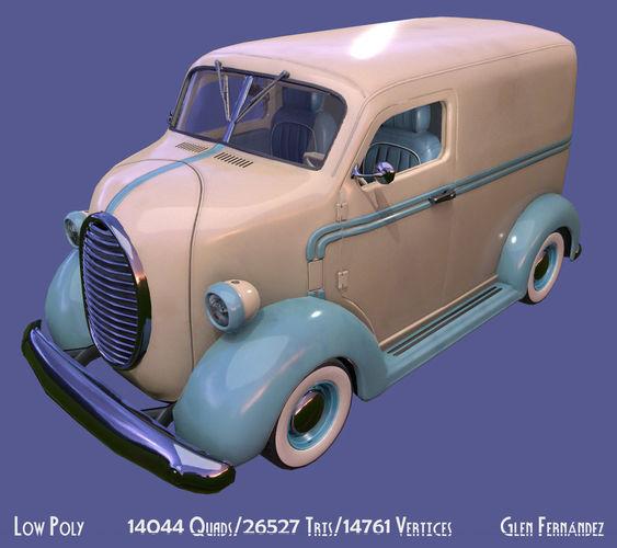 vintage custom coe delivery van 3d model obj mtl fbx ma mb unitypackage prefab 1