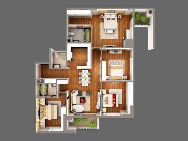 3d Model Detailed House Cutaway View 3d Model Max Obj Mtl 2
