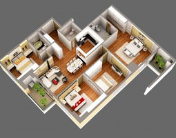 3D Model Detailed House Cutaway View