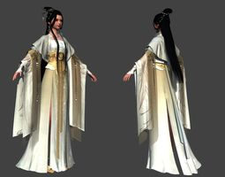 Chinese beauty Woman 3D model low-poly