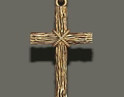 cross pendant with wood 3D printable model