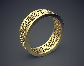 Classic Golden Carved Engagement Ring 3D printable model 1